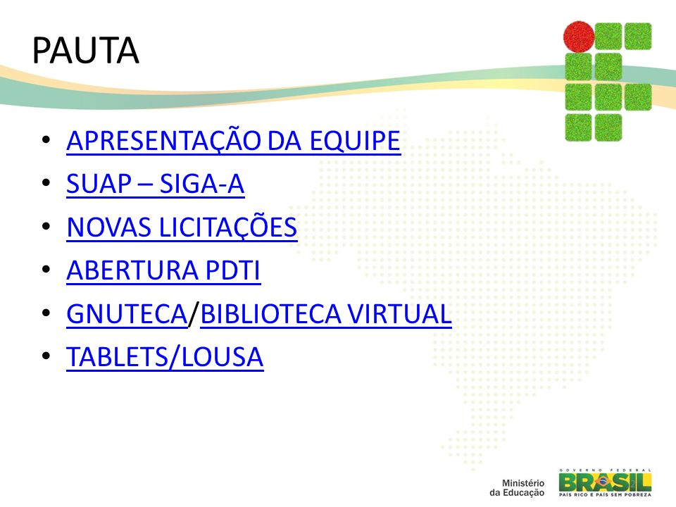 3 EQUIPE SETORRESPONSÁVELEMAIL Diretoria de Gestão de Tecnologia da InformaçãoCarlos Tiago Garantizado tiago@ifam.edu.br Coordenação de Sistemas de InformaçãoAntonio Ferreira dos Santos Juniorantonio@ifam.edu.br Coordenação de Manutenção de TICaroline Picançofranciscocosta@ifam.edu.br Coordenação de Infraestruturas e RedesJanderson Silvatiago@ifam.edu.br Coordenação de Governança de TIAnalice Barbosa Pereiraanalice@ifam.edu.br