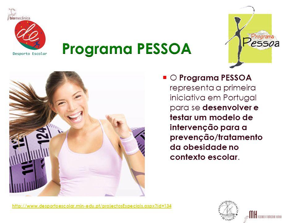 O Programa PESSOA representa a primeira iniciativa em Portugal para se desenvolver e testar um modelo de intervenção para a prevenção/tratamento da ob