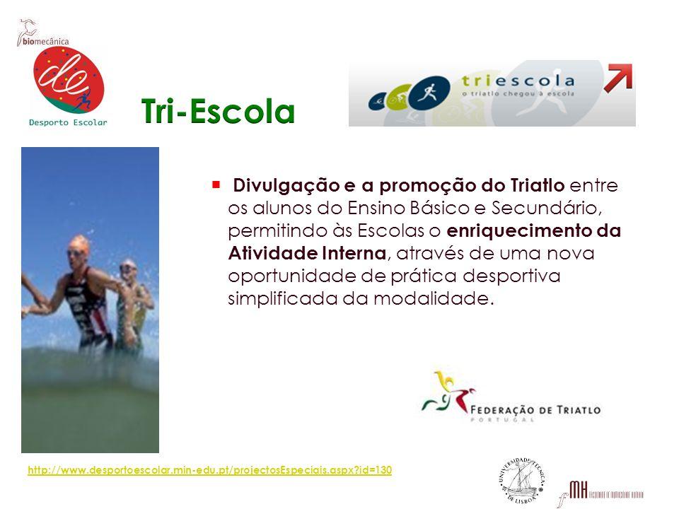 Divulgação e a promoção do Triatlo entre os alunos do Ensino Básico e Secundário, permitindo às Escolas o enriquecimento da Atividade Interna, através