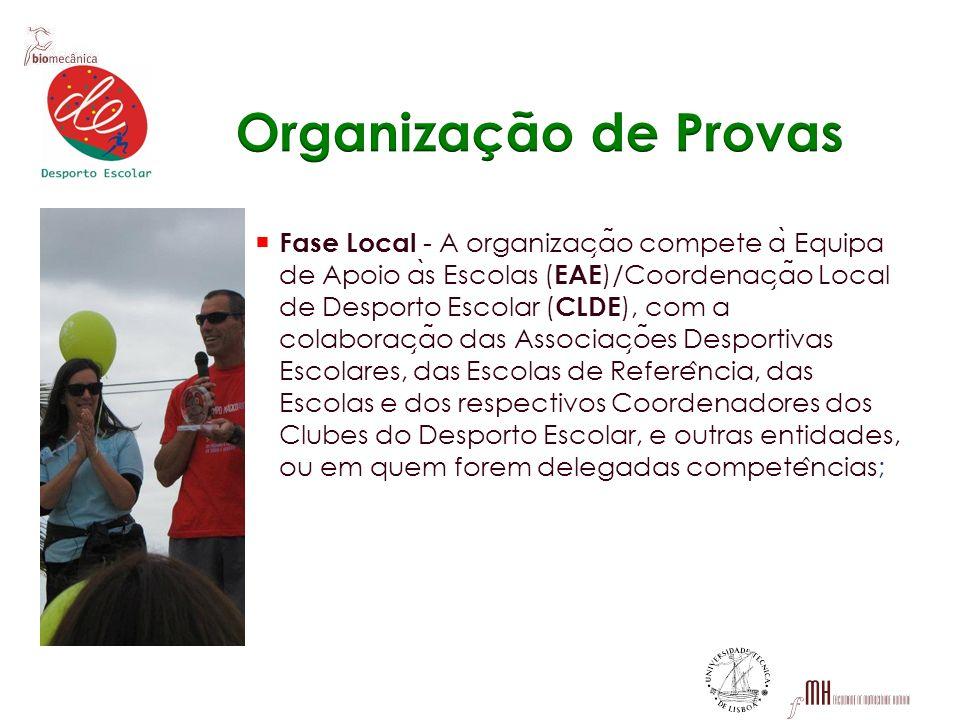Fase Local - A organizac ̧ a ̃ o compete a ̀ Equipa de Apoio a ̀ s Escolas ( EAE )/Coordenac ̧ a ̃ o Local de Desporto Escolar ( CLDE ), com a colabor