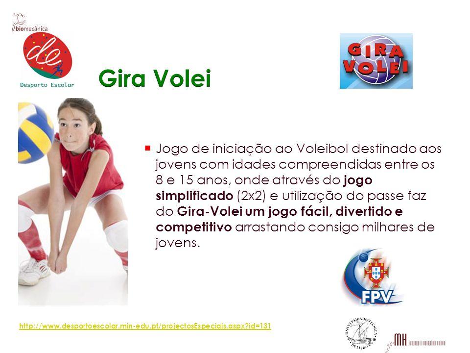 Jogo de iniciação ao Voleibol destinado aos jovens com idades compreendidas entre os 8 e 15 anos, onde através do jogo simplificado (2x2) e utilização