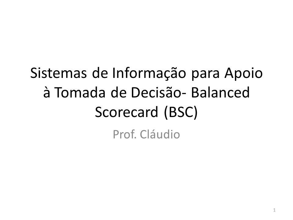 Sistemas de Informação para Apoio à Tomada de Decisão- Balanced Scorecard (BSC) Prof. Cláudio 1