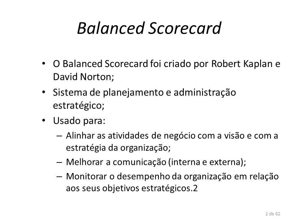2 de 62 Balanced Scorecard O Balanced Scorecard foi criado por Robert Kaplan e David Norton; Sistema de planejamento e administração estratégico; Usad