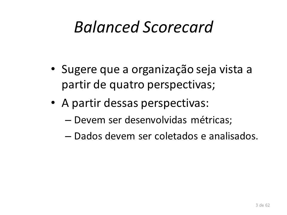 3 de 62 Balanced Scorecard Sugere que a organização seja vista a partir de quatro perspectivas; A partir dessas perspectivas: – Devem ser desenvolvida