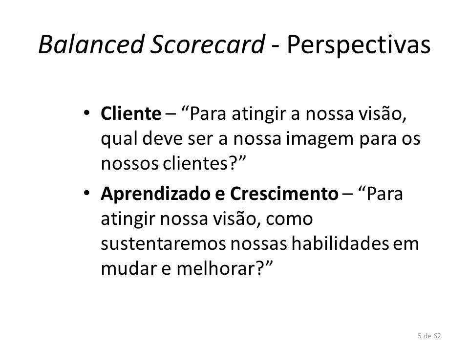 5 de 62 Balanced Scorecard - Perspectivas Cliente – Para atingir a nossa visão, qual deve ser a nossa imagem para os nossos clientes? Aprendizado e Cr