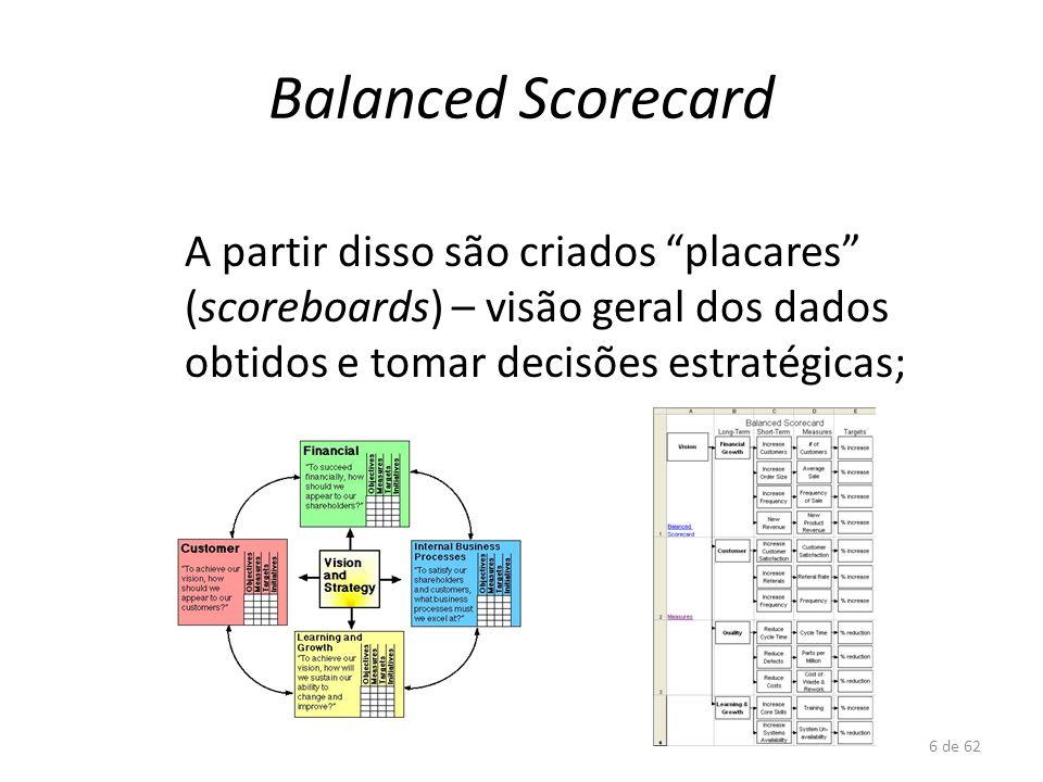6 de 62 Balanced Scorecard A partir disso são criados placares (scoreboards) – visão geral dos dados obtidos e tomar decisões estratégicas;