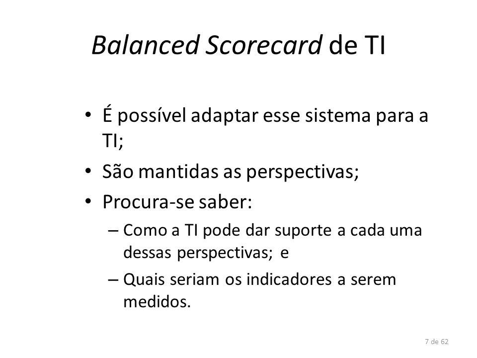 7 de 62 Balanced Scorecard de TI É possível adaptar esse sistema para a TI; São mantidas as perspectivas; Procura-se saber: – Como a TI pode dar supor