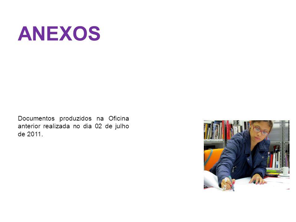 ANEXOS Documentos produzidos na Oficina anterior realizada no dia 02 de julho de 2011.