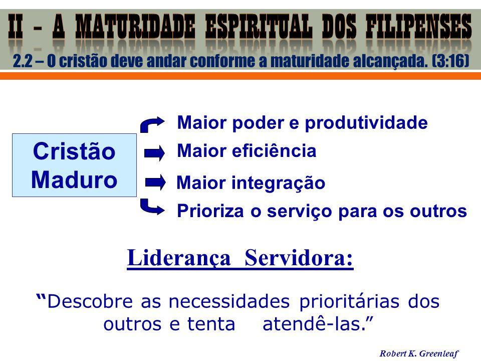 2.2 – O cristão deve andar conforme a maturidade alcançada. (3:16) Cristão Maduro Maior poder e produtividade Maior eficiência Prioriza o serviço para