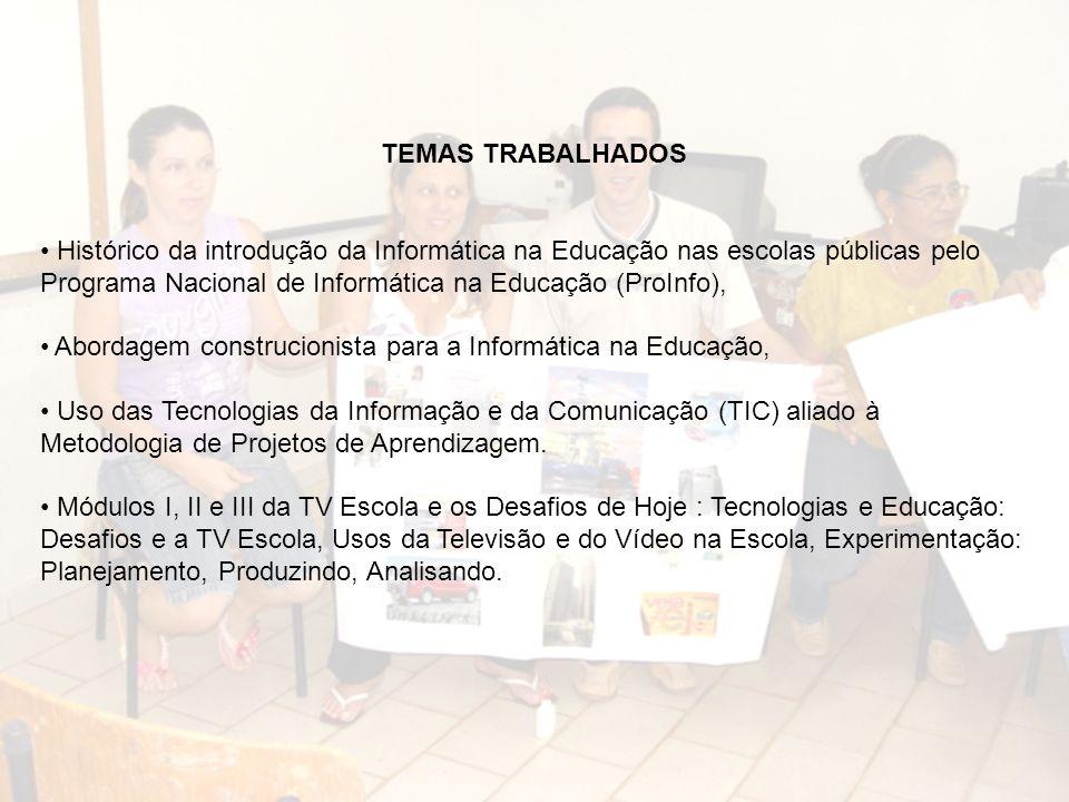TEMAS TRABALHADOS Histórico da introdução da Informática na Educação nas escolas públicas pelo Programa Nacional de Informática na Educação (ProInfo),