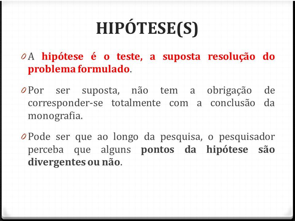 HIPÓTESE(S) 0 A hipótese é o teste, a suposta resolução do problema formulado. 0 Por ser suposta, não tem a obrigação de corresponder-se totalmente co