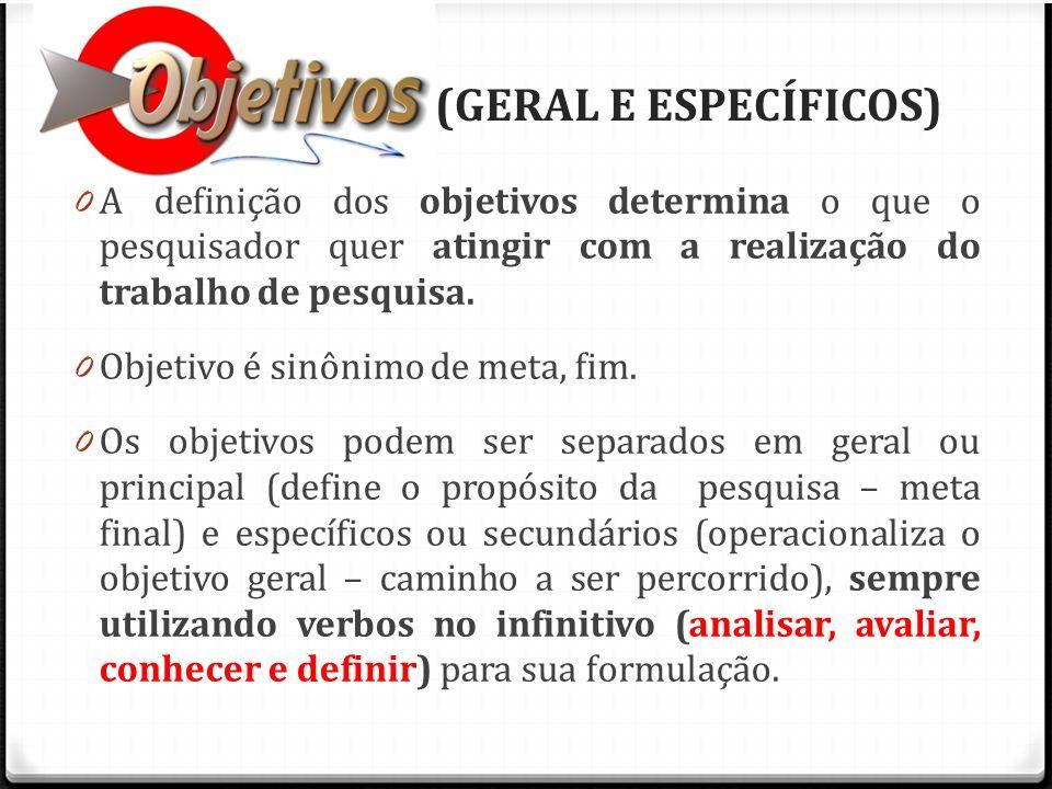 OBJETIVOS (GERAL E ESPECÍFICOS) 0 A definição dos objetivos determina o que o pesquisador quer atingir com a realização do trabalho de pesquisa. 0 Obj