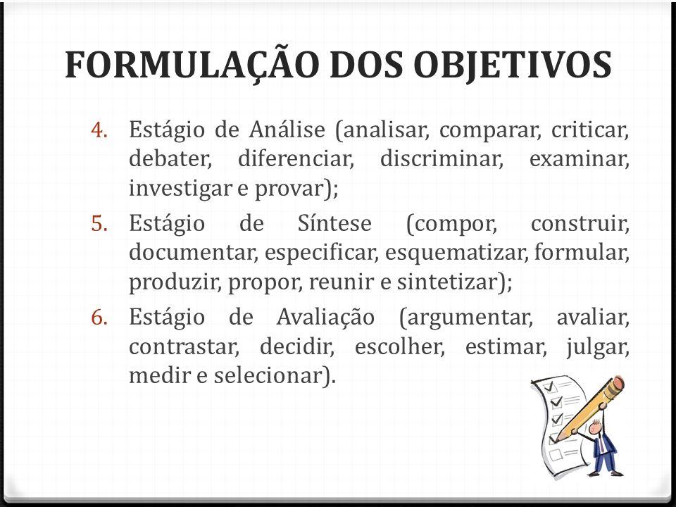 FORMULAÇÃO DOS OBJETIVOS 4. Estágio de Análise (analisar, comparar, criticar, debater, diferenciar, discriminar, examinar, investigar e provar); 5. Es
