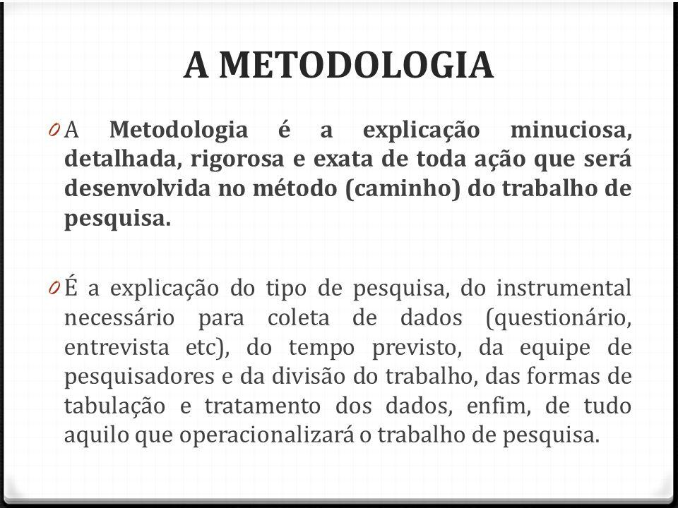 A METODOLOGIA 0 A Metodologia é a explicação minuciosa, detalhada, rigorosa e exata de toda ação que será desenvolvida no método (caminho) do trabalho