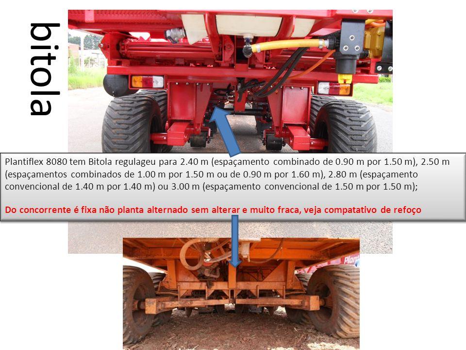 Plantiflex 8080 tem Bitola regulageu para 2.40 m (espaçamento combinado de 0.90 m por 1.50 m), 2.50 m (espaçamentos combinados de 1.00 m por 1.50 m ou