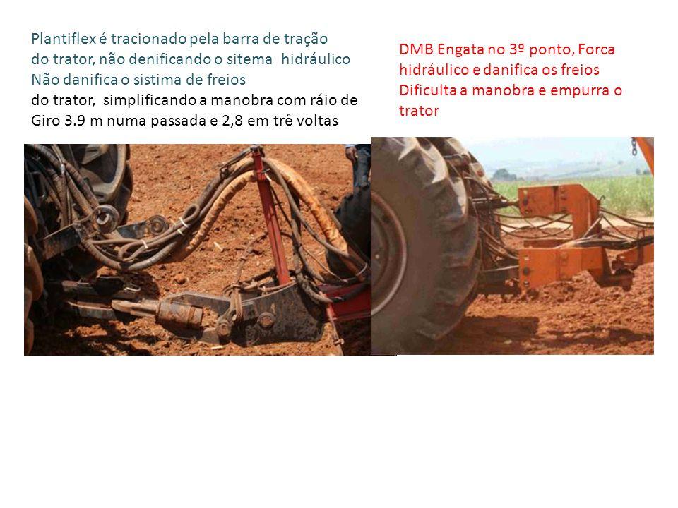 Plantiflex é tracionado pela barra de tração do trator, não denificando o sitema hidráulico Não danifica o sistima de freios do trator, simplificando