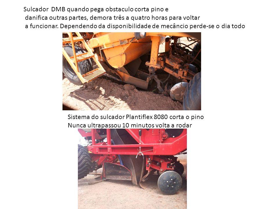 Sulcador DMB quando pega obstaculo corta pino e danifica outras partes, demora três a quatro horas para voltar a funcionar. Dependendo da disponibilid