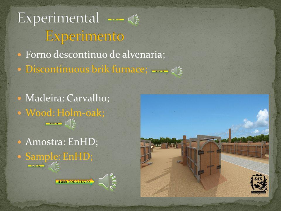 Forno de carvão vegetal; Chacoal kiln; Madeira: Carvalho; Wood: Holm-oak; Amostra: EnC; Sample: EnC; SOM: TODO TEXTO SOM: T1 SOM: T2 SOM: T3 SOM: T4