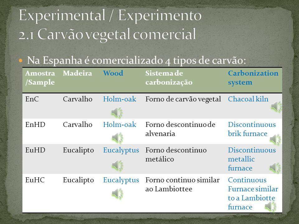 Forno continuo similar ao Lambiottee; Continuous Furnace similar to a Lambiotte furnace; Madeira: Eucalipto; Wood: Eucalyptus; Amostra: EuHC; Sample: