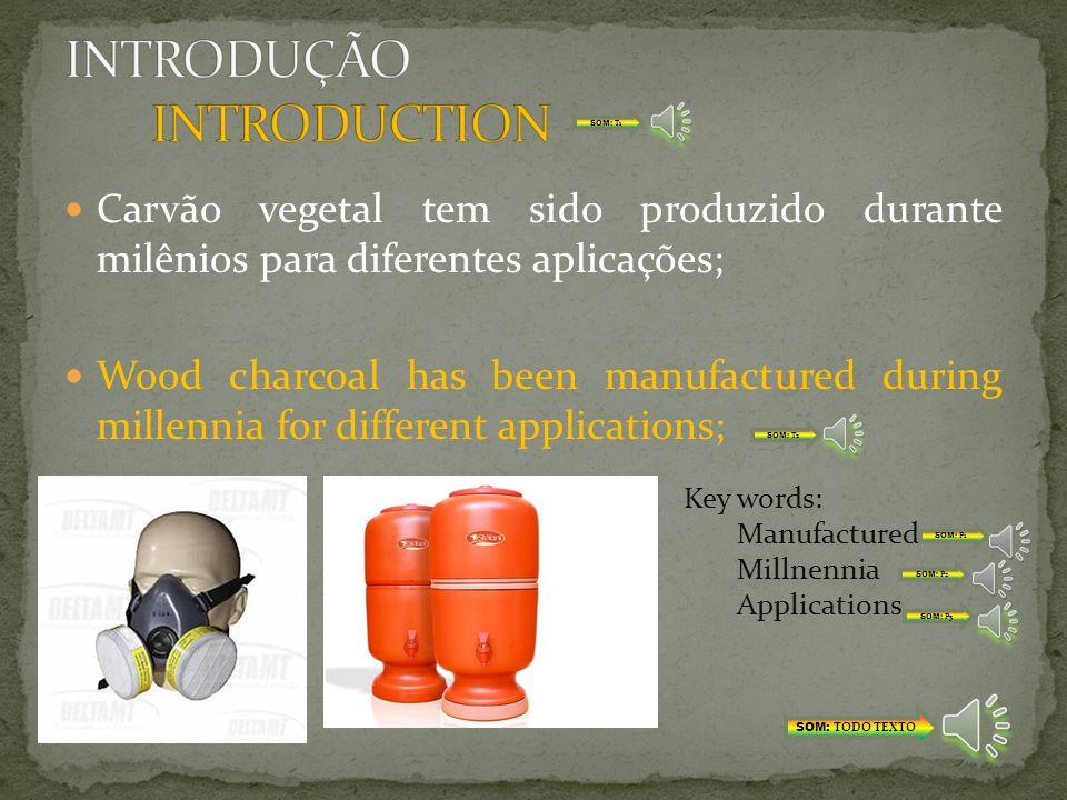 Madeira é largamente usada em escala industrial para produção de carvão ativado; Wood is widely used for industrial-scale production of carbon adsorbents; Key words: Widely Industrial-scale SOM: TODO TEXTO SOM: T1 SOM: T2 SOM: P1 SOM: P2