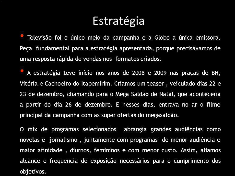 Estratégia Televisão foi o único meio da campanha e a Globo a única emissora. Peça fundamental para a estratégia apresentada, porque precisávamos de u