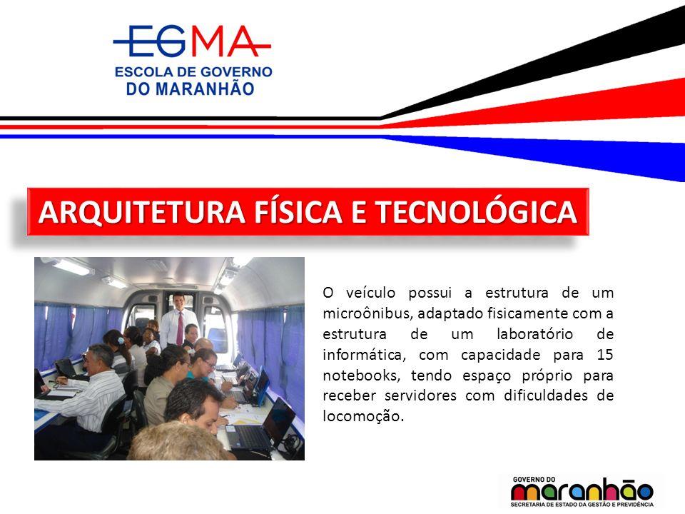 ARQUITETURA FÍSICA E TECNOLÓGICA O veículo possui a estrutura de um microônibus, adaptado fisicamente com a estrutura de um laboratório de informática