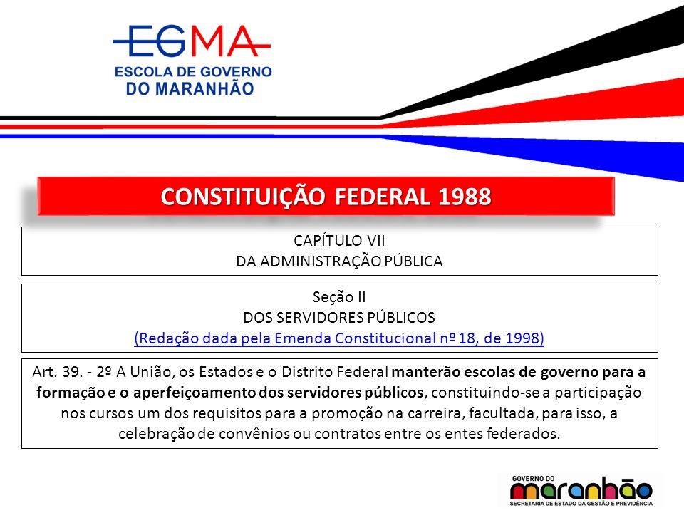 CONSTITUIÇÃO FEDERAL 1988 CAPÍTULO VII DA ADMINISTRAÇÃO PÚBLICA Seção II DOS SERVIDORES PÚBLICOS (Redação dada pela Emenda Constitucional nº 18, de 19