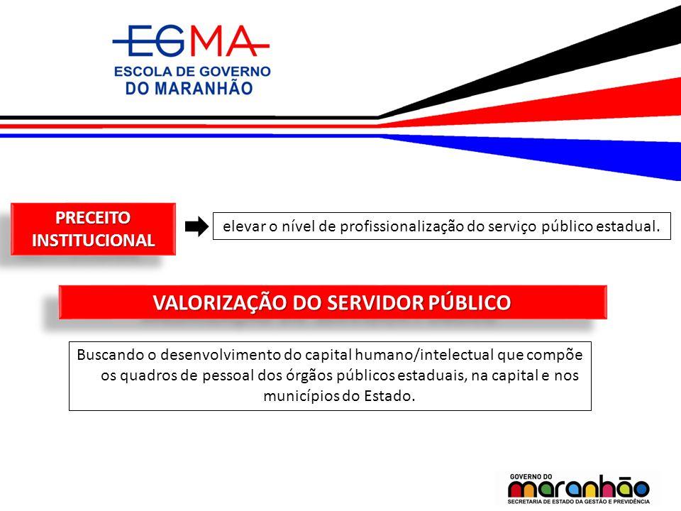 PRECEITO INSTITUCIONAL elevar o nível de profissionalização do serviço público estadual. VALORIZAÇÃO DO SERVIDOR PÚBLICO Buscando o desenvolvimento do