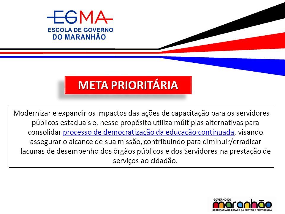 META PRIORITÁRIA Modernizar e expandir os impactos das ações de capacitação para os servidores públicos estaduais e, nesse propósito utiliza múltiplas