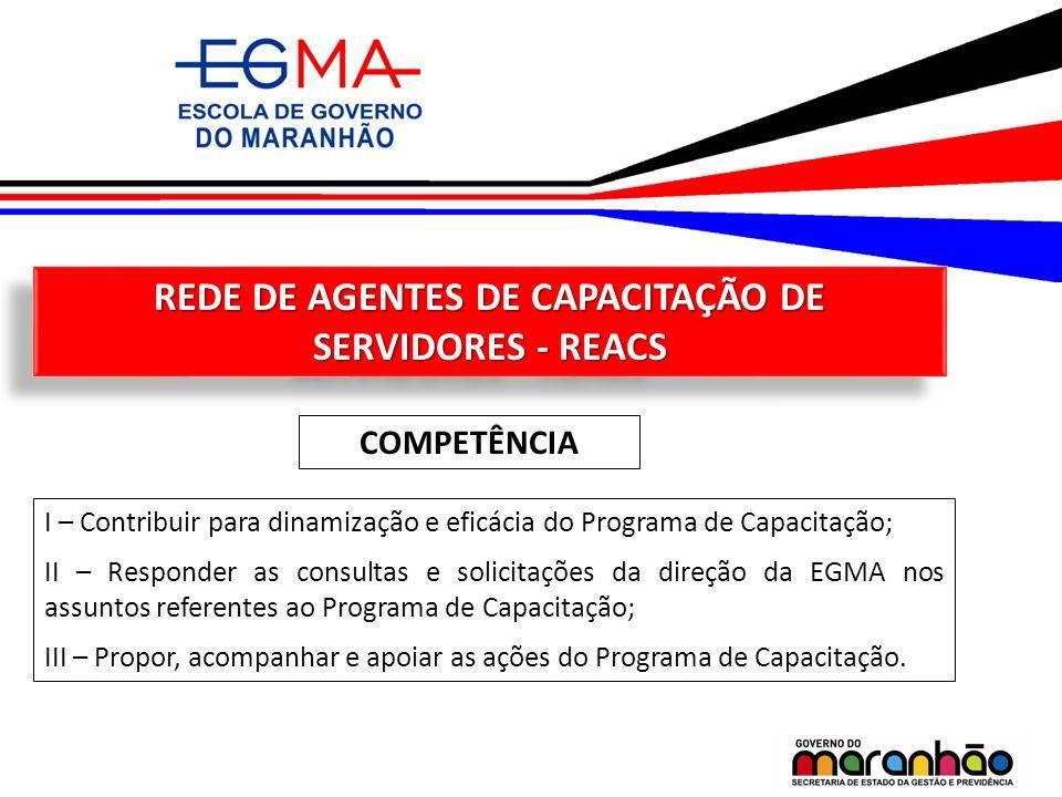 REDE DE AGENTES DE CAPACITAÇÃO DE SERVIDORES - REACS COMPETÊNCIA I – Contribuir para dinamização e eficácia do Programa de Capacitação; II – Responder