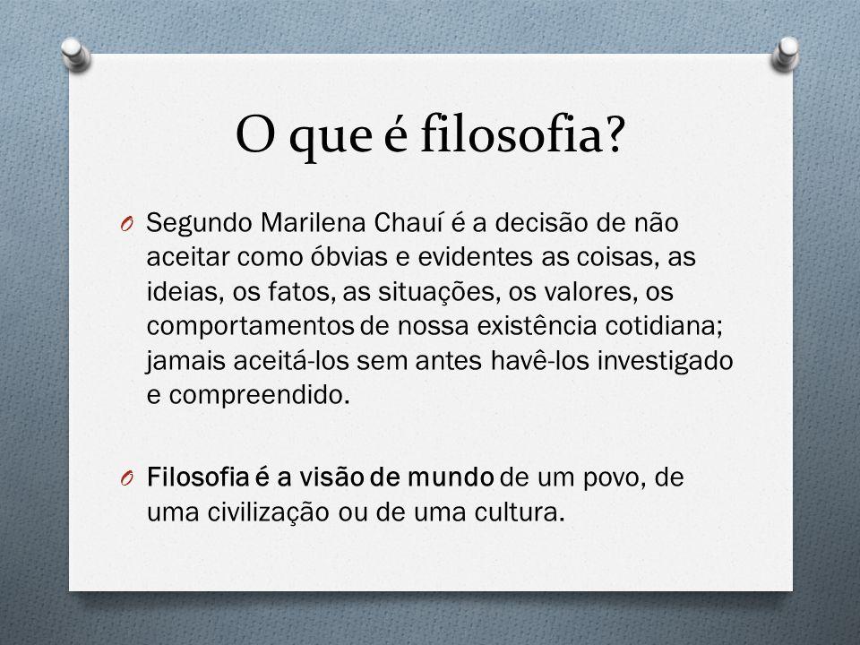 O que é filosofia? O Segundo Marilena Chauí é a decisão de não aceitar como óbvias e evidentes as coisas, as ideias, os fatos, as situações, os valore