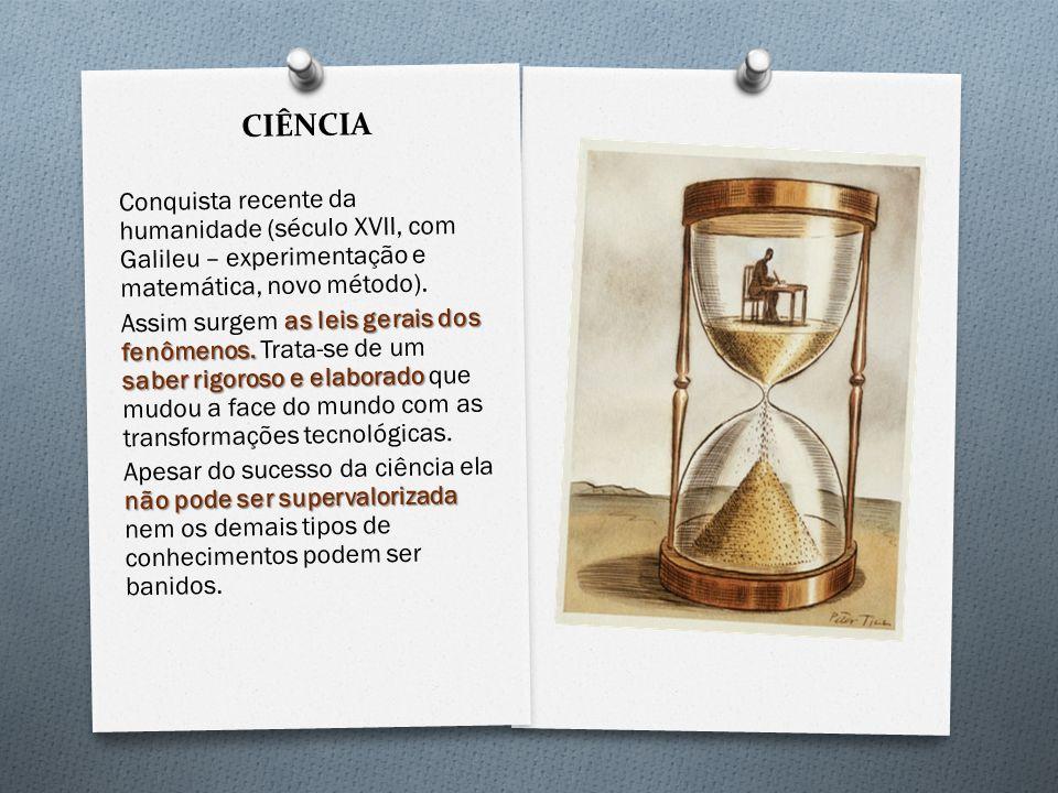 CIÊNCIA Conquista recente da humanidade (século XVII, com Galileu – experimentação e matemática, novo método). as leis gerais dos fenômenos. saber rig