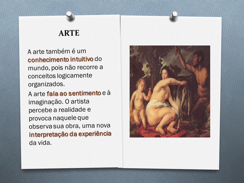 ARTE conhecimento intuitivo A arte também é um conhecimento intuitivo do mundo, pois não recorre a conceitos logicamente organizados. fala ao sentimen