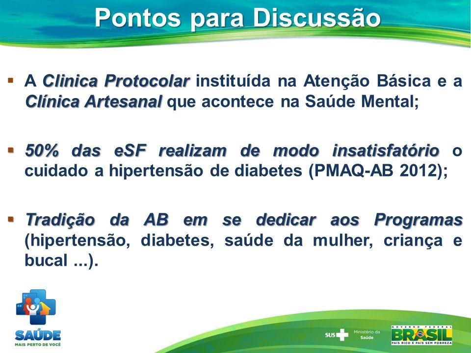 Pontos para Discussão Clinica Protocolar Clínica Artesanal A Clinica Protocolar instituída na Atenção Básica e a Clínica Artesanal que acontece na Saú