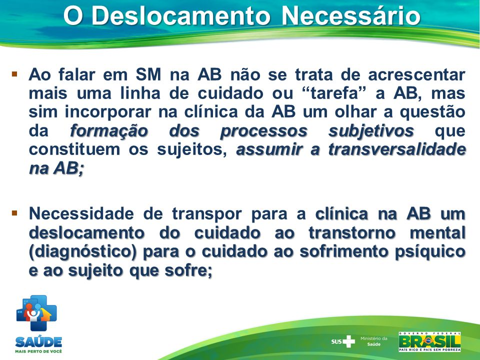 O Deslocamento Necessário formação dos processos subjetivos assumir a transversalidade na AB; Ao falar em SM na AB não se trata de acrescentar mais um