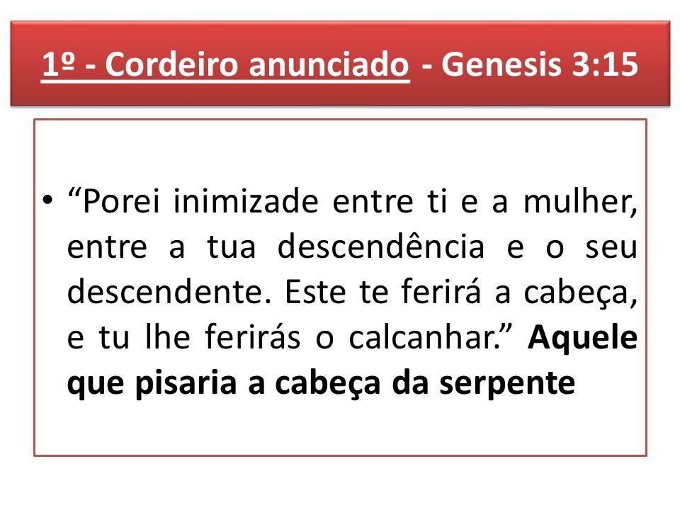 1º - Cordeiro anunciado - Genesis 3:15 Porei inimizade entre ti e a mulher, entre a tua descendência e o seu descendente.