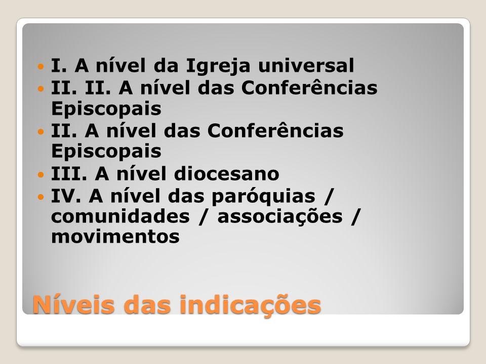Níveis das indicações I.A nível da Igreja universal II.