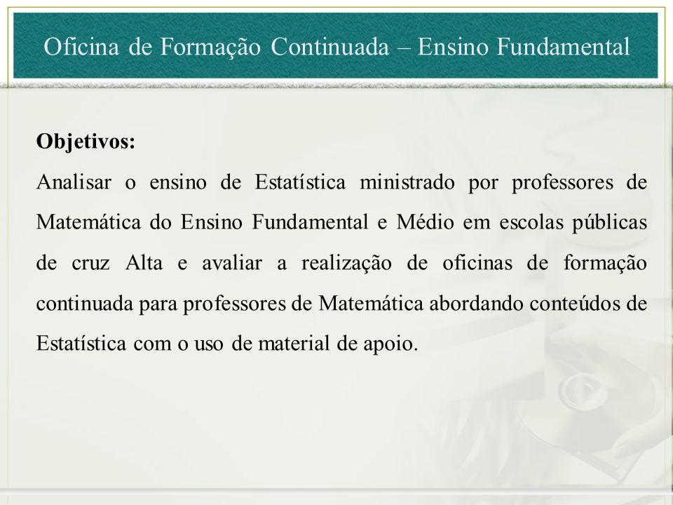 Objetivos: Analisar o ensino de Estatística ministrado por professores de Matemática do Ensino Fundamental e Médio em escolas públicas de cruz Alta e