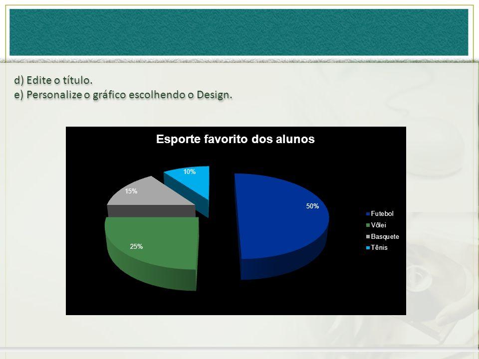 d) Edite o título. e) Personalize o gráfico escolhendo o Design. d) Edite o título. e) Personalize o gráfico escolhendo o Design.