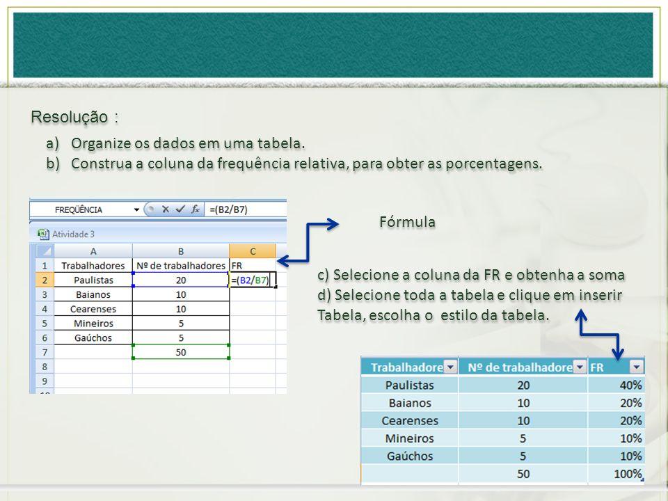 a)Organize os dados em uma tabela. b)Construa a coluna da frequência relativa, para obter as porcentagens. a)Organize os dados em uma tabela. b)Constr