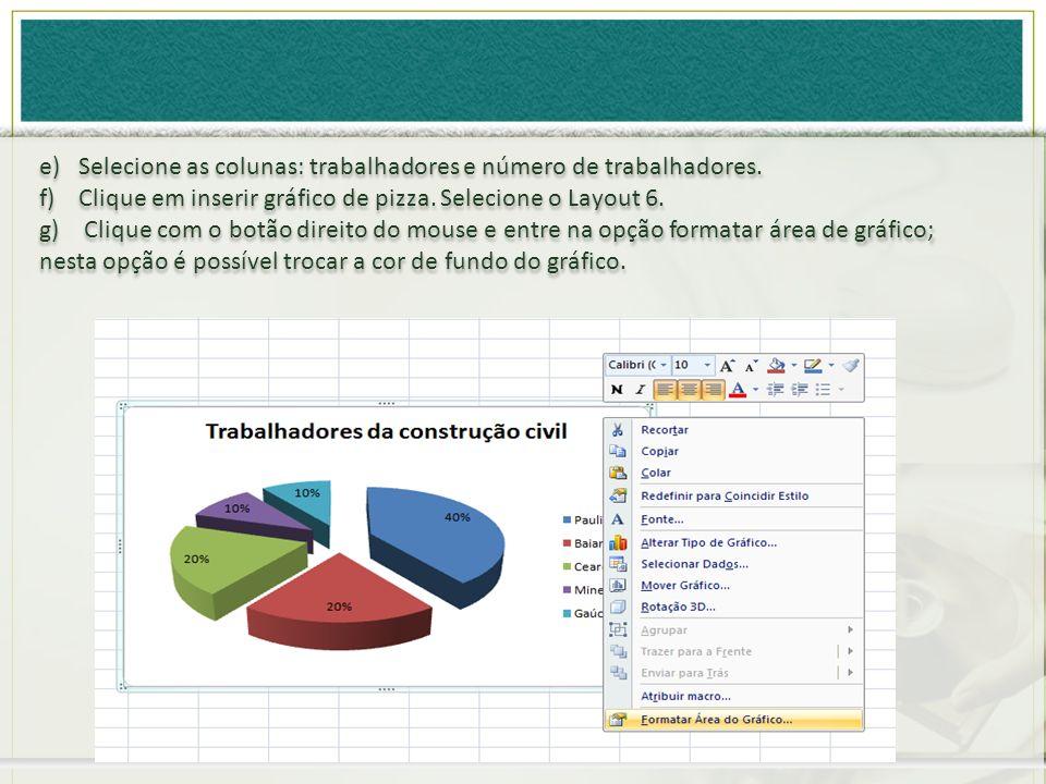 e)Selecione as colunas: trabalhadores e número de trabalhadores. f)Clique em inserir gráfico de pizza. Selecione o Layout 6. g) Clique com o botão dir