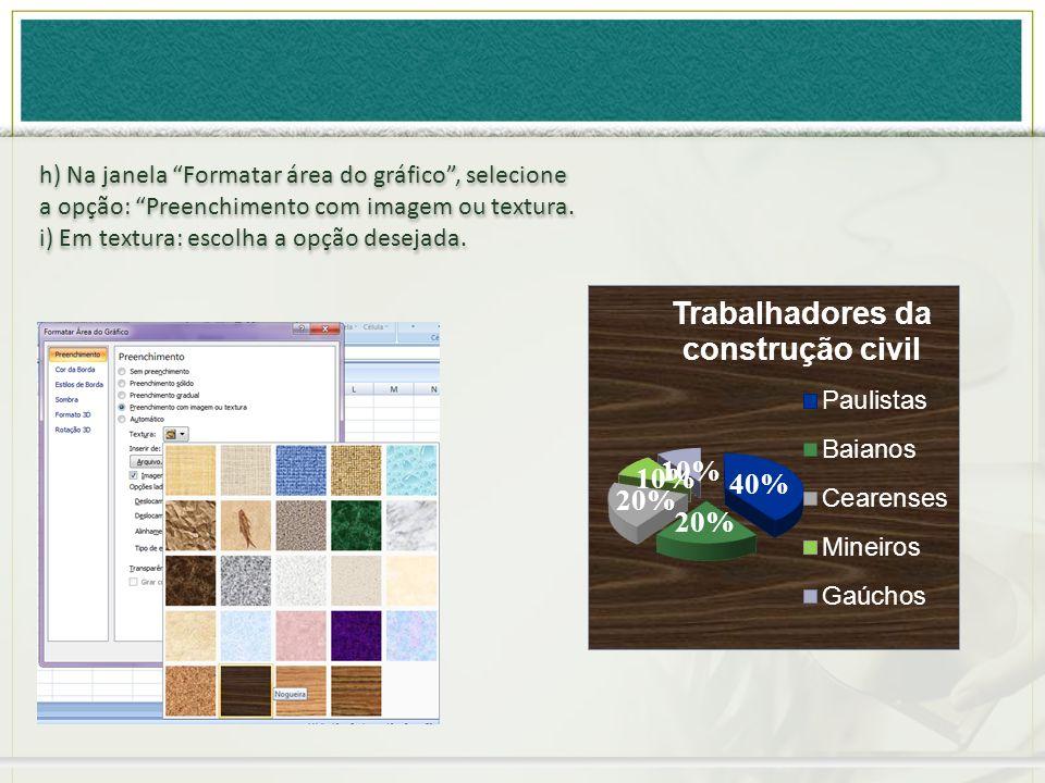 h) Na janela Formatar área do gráfico, selecione a opção: Preenchimento com imagem ou textura. i) Em textura: escolha a opção desejada. h) Na janela F