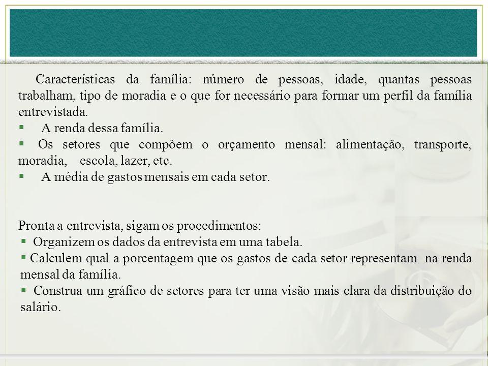 Características da família: número de pessoas, idade, quantas pessoas trabalham, tipo de moradia e o que for necessário para formar um perfil da famíl