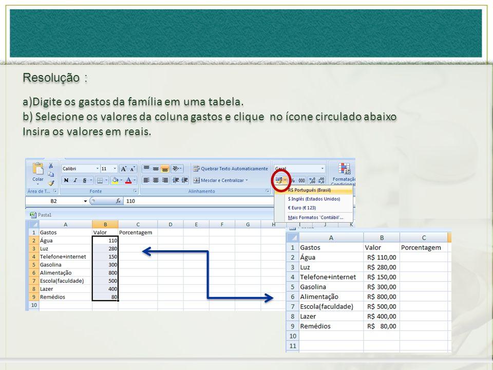a)Digite os gastos da família em uma tabela. b) Selecione os valores da coluna gastos e clique no ícone circulado abaixo Insira os valores em reais. a