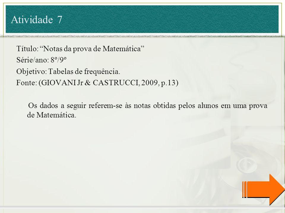 Atividade 7 Título: Notas da prova de Matemática Série/ano: 8º/9º Objetivo: Tabelas de frequência. Fonte: (GIOVANI Jr & CASTRUCCI, 2009, p.13) Os dado