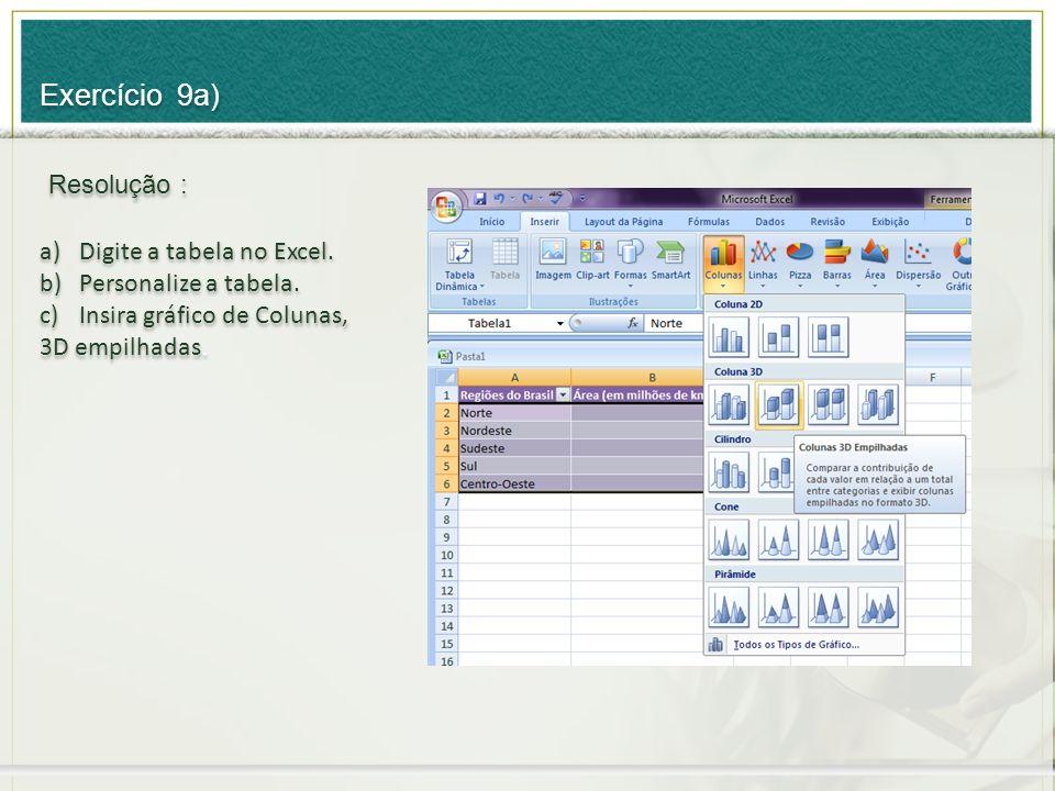 a)Digite a tabela no Excel. b)Personalize a tabela. c)Insira gráfico de Colunas, 3D empilhadas. a)Digite a tabela no Excel. b)Personalize a tabela. c)