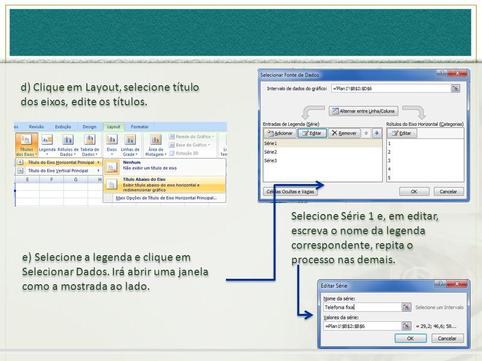 e) Selecione a legenda e clique em Selecionar Dados. Irá abrir uma janela como a mostrada ao lado. d) Clique em Layout, selecione título dos eixos, ed