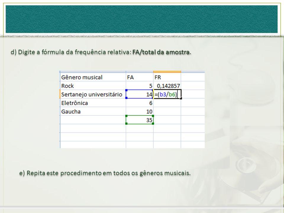 FA/total da amostra d) Digite a fórmula da frequência relativa: FA/total da amostra. e) Repita este procedimento em todos os gêneros musicais.