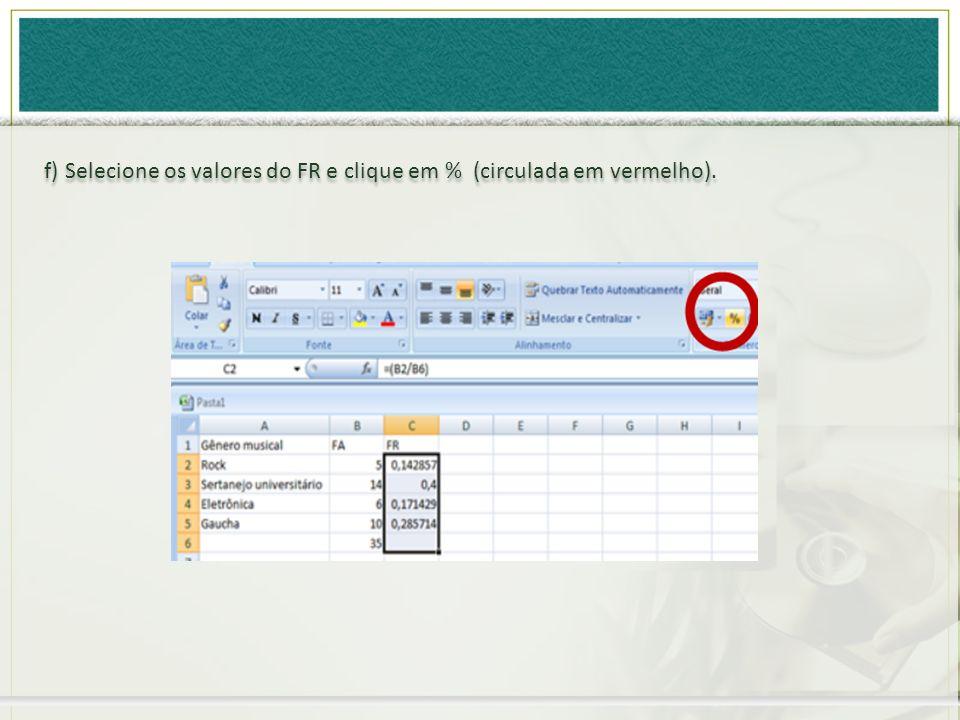 f) Selecione os valores do FR e clique em % (circulada em vermelho).