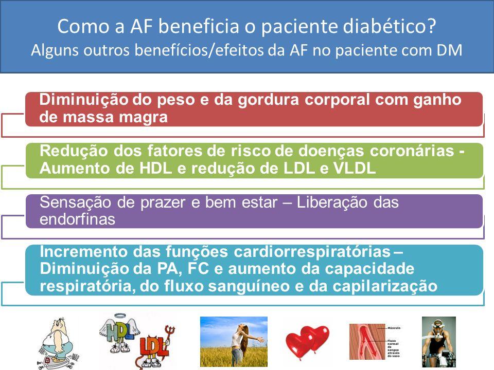 Como a AF beneficia o paciente diabético? Alguns outros benefícios/efeitos da AF no paciente com DM Diminuição do peso e da gordura corporal com ganho